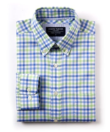 Button-Down Oxford Shirt - Blue/Green