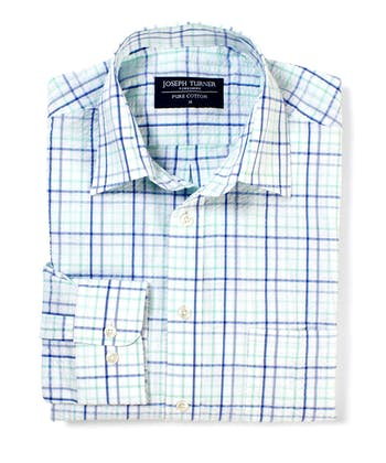 Seersucker Shirt - Long Sleeve - Blue/Green Check