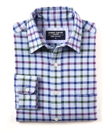 Brushed Cotton Check Shirt - Blue/Green/Purple