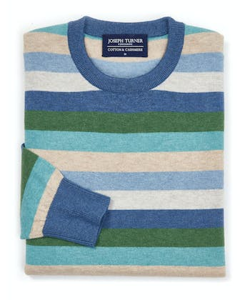 Cotton/Cashmere Stripe Jumper - Blue/Green/Stone