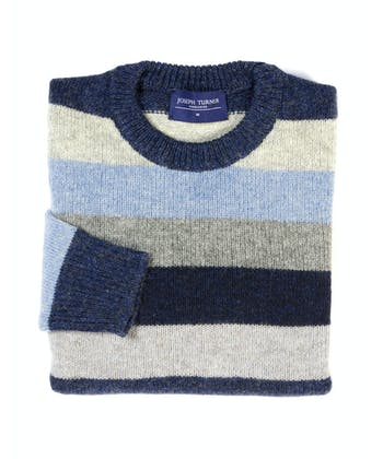 Shetland Jumper - Striped Crew Neck - Blue/Grey