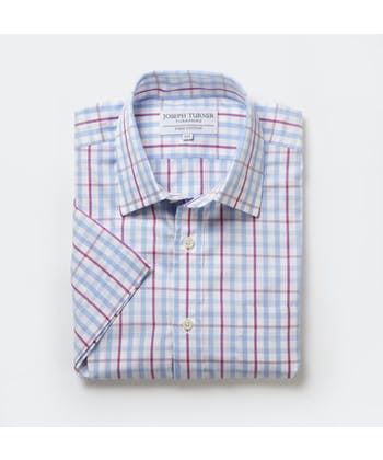 Blue/Magenta Check - Short Sleeve Shirt