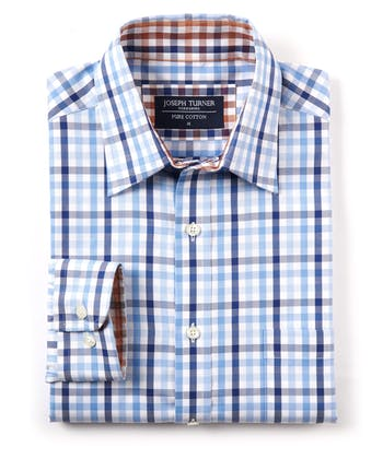 Casual Gingham Check Shirt - Blue/Navy