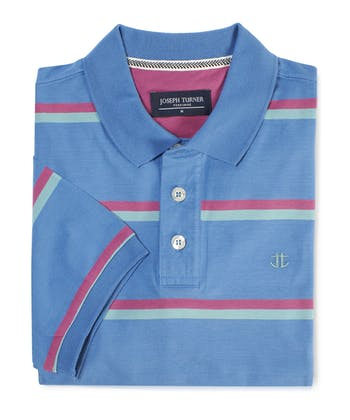 Striped Jersey Polo Shirt - Blue/Pink/Aqua