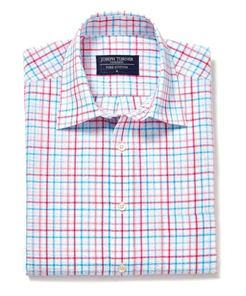 Seersucker Shirt - Short Sleeve - Blue/Pink