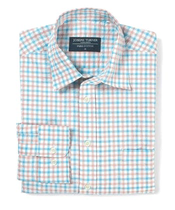 Seersucker Shirt - Long Sleeve - Blue/Pink Gingham