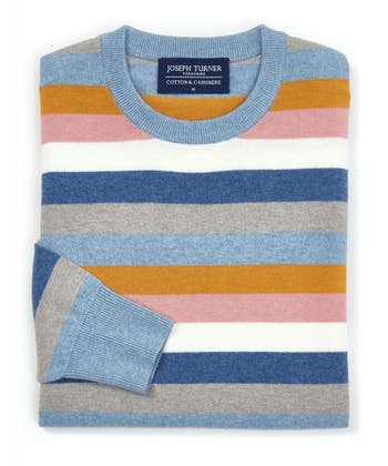 Cotton/Cashmere Stripe Jumper - Blue/Pink/Gold