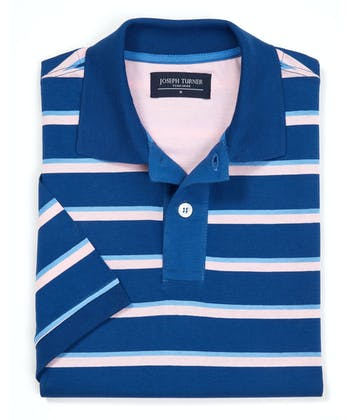 Striped Jersey Polo Shirt - Blue/Pink