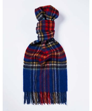 Lambswool Scarf - Blue/Red
