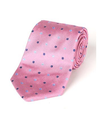Blue Spots on Pink - Woven Silk Tie