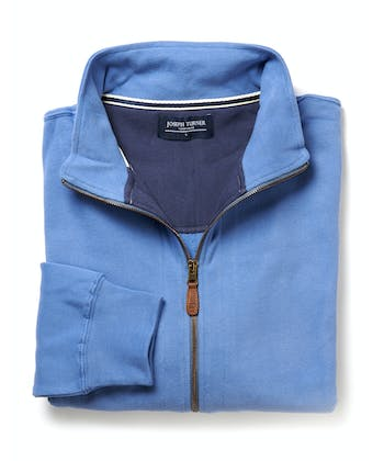 Full-Zip Jersey Sweatshirt - Blue