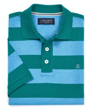 Striped Jersey Polo Shirt - Blue/Teal