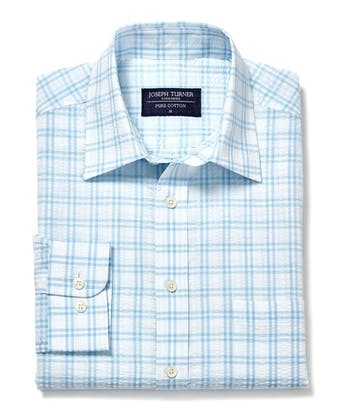 Seersucker Shirt - Long Sleeve - Blue/White Check