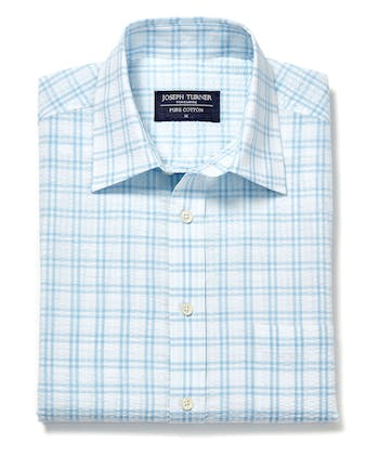 Seersucker Shirt - Short Sleeve - Blue/White Check