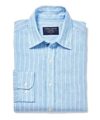 Linen Shirt - Long Sleeve - Blue/White Stripe