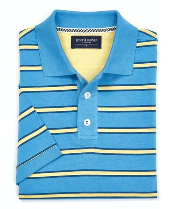 Striped Jersey Polo Shirt - Blue/Yellow