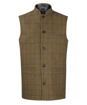 Nehru Waistcoat - Brown/Blue/Red Check