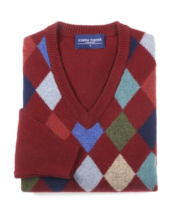 Harlequin V-Neck Jumper - Burgundy