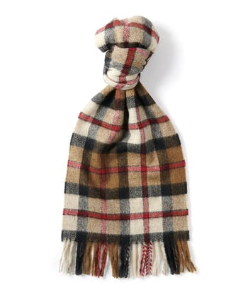 Lambswool Scarf - Camel/Red