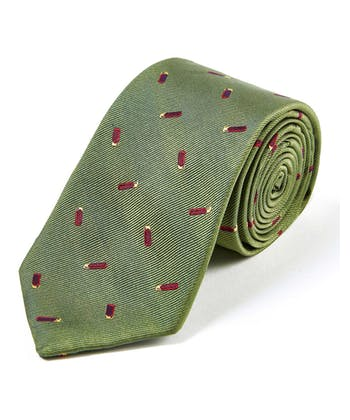 Cartridges on Olive - Woven Silk Tie