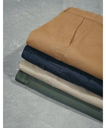 Flat Front Chinos - Pebble