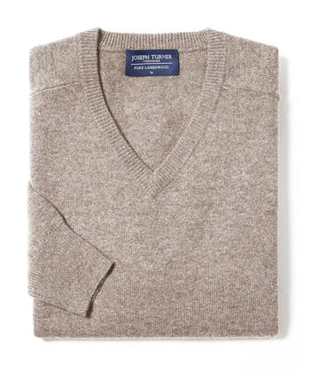 Lambswool Jumper - V Neck - Cobble