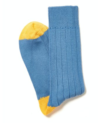 Heel & Toe Cotton Socks - Cornflower/Yellow