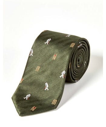 Cricketers on Green - Woven Silk Tie