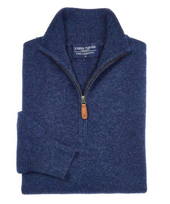 Lambswool Jumper - Half Zip - Dark Blue
