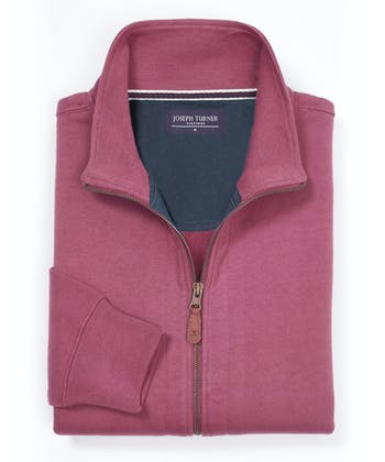 Full-Zip Jersey Sweatshirt - Dark Pink