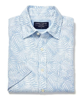 Linen Shirt - Short Sleeve - Ferns on Blue