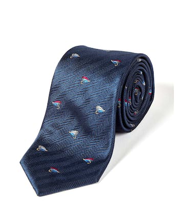 Fishing Flies on Navy - Woven Silk Tie
