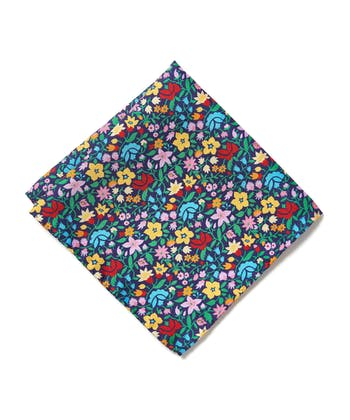 Silk Pocket Square - Flowers on Navy