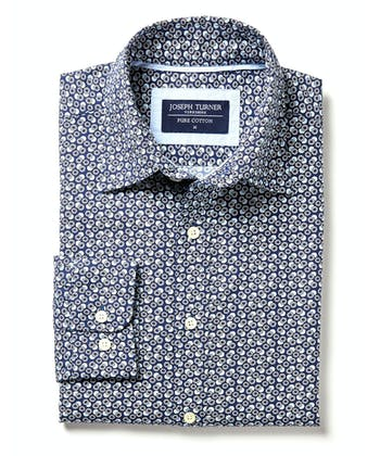 Cotton Print Shirt - Flowers on Navy