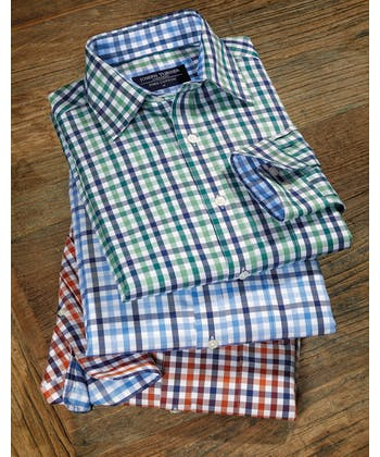 Casual Gingham Check Shirt - Green/Navy