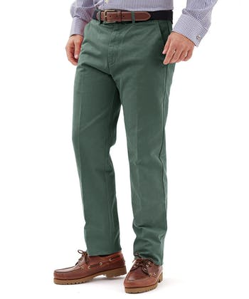 Flat Front Chinos - Green
