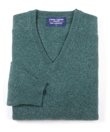 Lambswool Jumper - V Neck - Sea Green