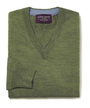 Merino Jumper - V Neck - Green