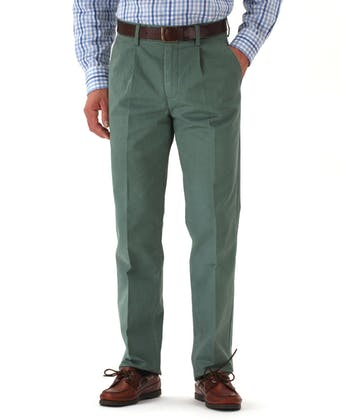 Pleated Front Chinos - Green