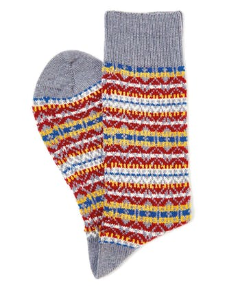 Fair Isle Socks - Grey/Red/Yellow