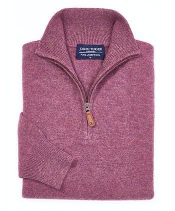 Lambswool Jumper - Half Zip - Heather