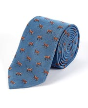 Horses on Blue - Woven Silk Tie