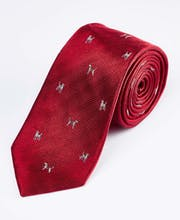 Hounds on Red - Woven Silk Tie