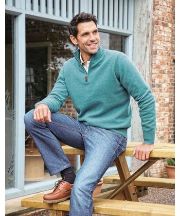 Lambswool Jumper - Half Zip - Teal