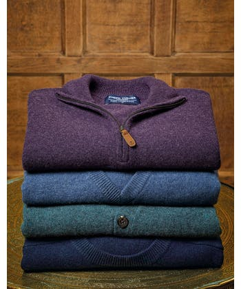 Lambswool Jumper - V Neck - Purple