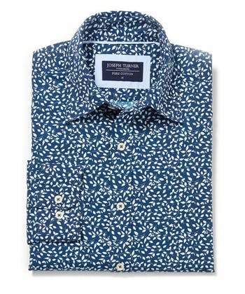 Cotton Print Shirt - Leaves on Navy