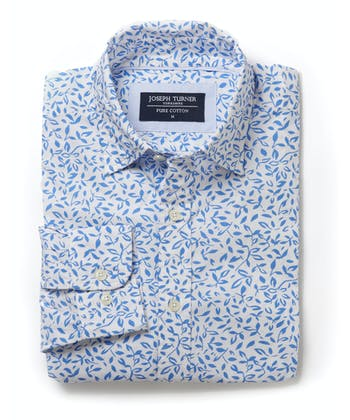 Cotton Print Shirt - Leaves on White