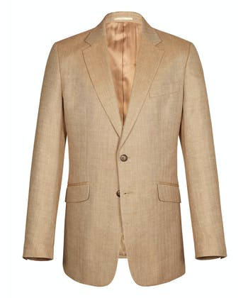Wool/Linen Jacket - Light Brown Herringbone
