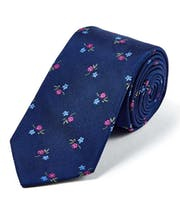 Magenta/Blue Flowers on Navy - Woven Silk Tie