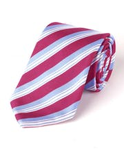 Magenta/Blue Stripes - Woven Silk Tie